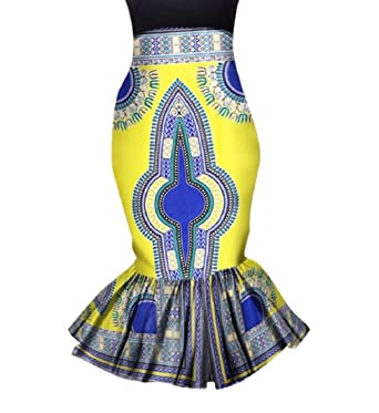 44855a9b8c2 Highisa Womens African Floral Party Ruffled Bodycon Batik Vogue Mermaid  Skirt at Amazon Women s Clothing store