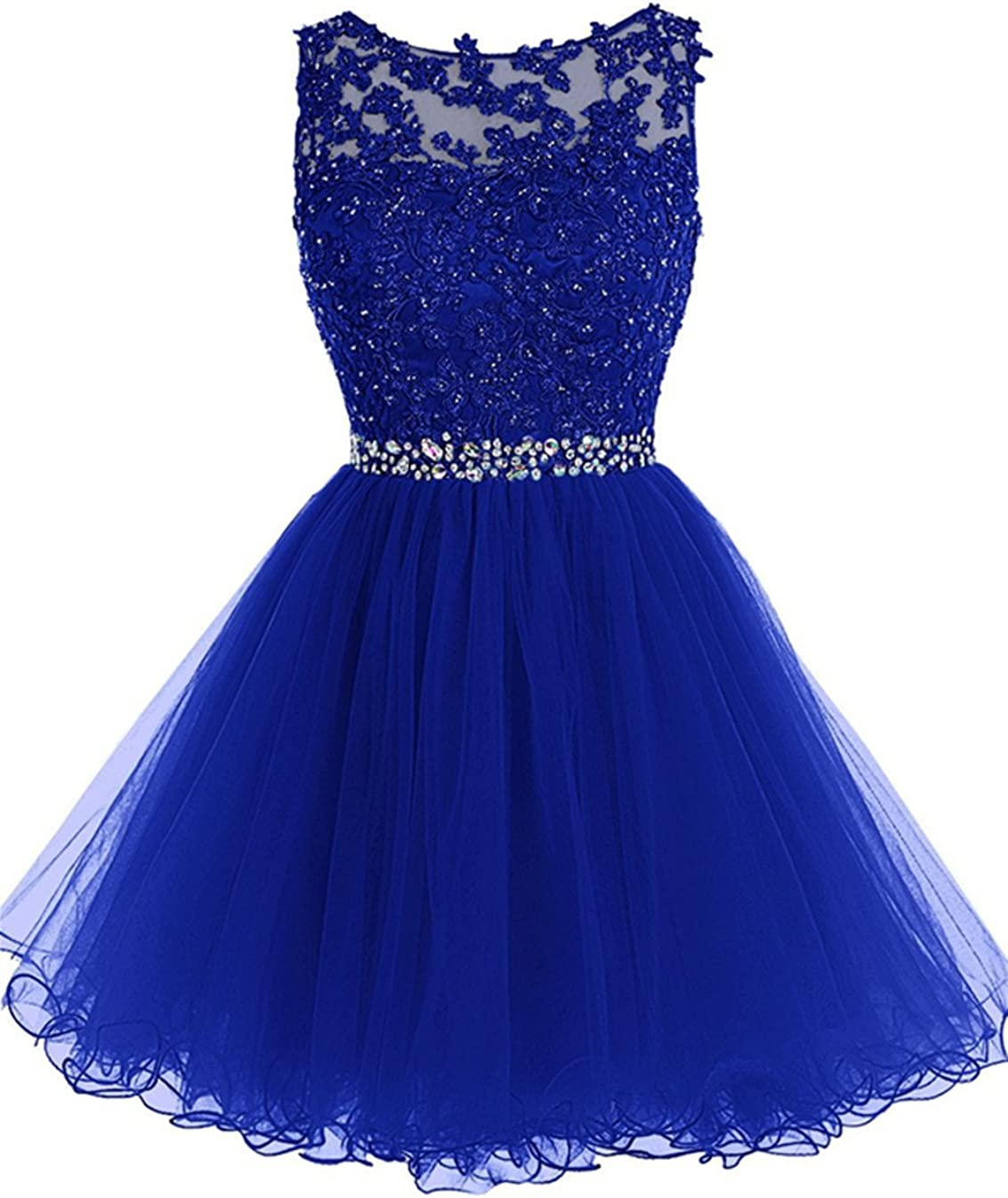 Short Tulle Homecoming Dresses Appliques Beads Prom Party Gowns 71KsO7lvt%2BL