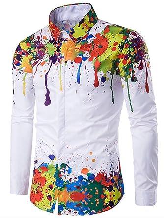 e4258eee XuanYing Colorful Splatter Paint Pattern Digital Printing Long Sleeve  Casual Shirt (XXLarge)