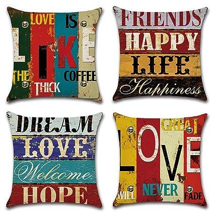 Amazon com: Decorative Pillowcases Vintage Words Home Throw