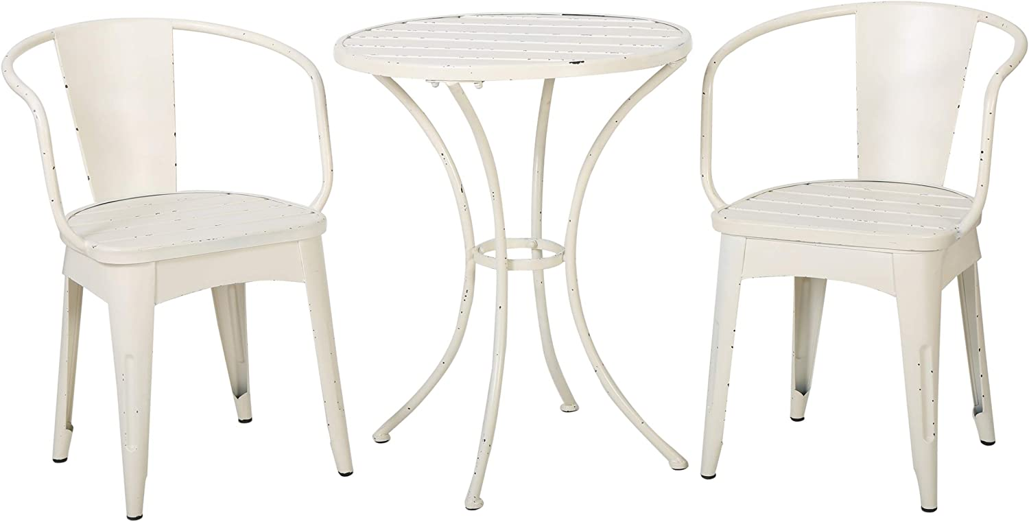 Castro Outdoor 3-piece Off-White Cast Bistro Set