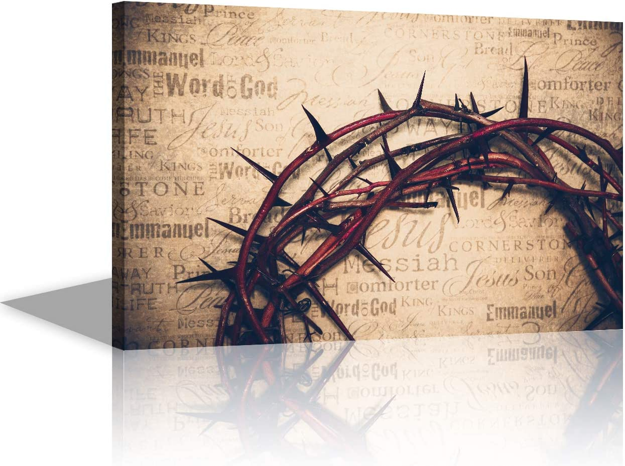 Art Work for Home Walls Jesus Christ Pictures Christ Redeemer Wall Decor Paintings Crown Headwear Thorn Bush Easter Religion 1 Panel Canvas Artwork for Living Room Framed Ready to Hang(16''X24'')
