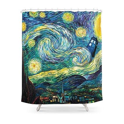 Society6 Tardis Starry Night Shower Curtain 71quot