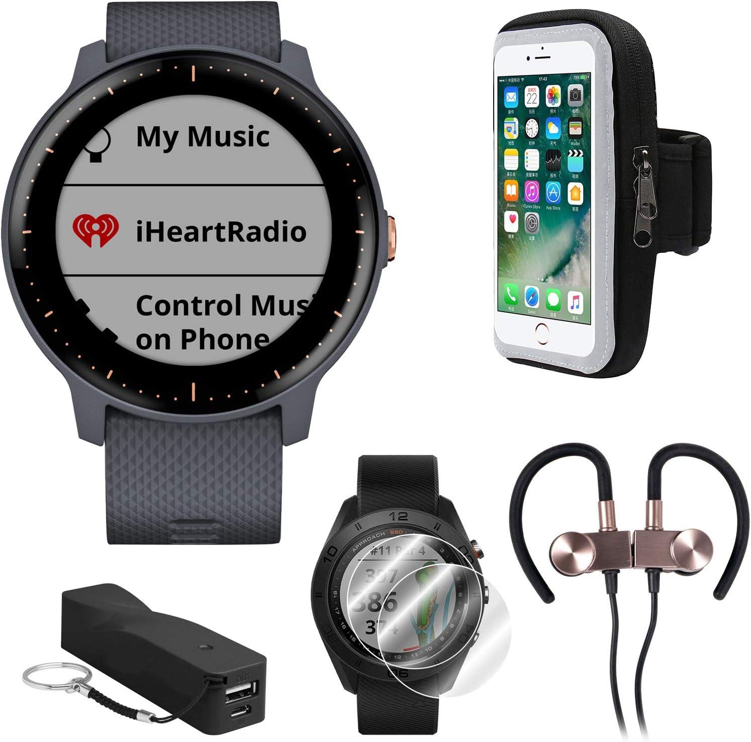 Garmin Vivoactive 3 Music GPS Smartwatch Runner Pro Bundle with Smartphone Armband Holder, Portable Power Bank, 2Pk Screen Protector, and Sport Wireless Earbuds (Black & Gunmetal): Amazon.es: Electrónica