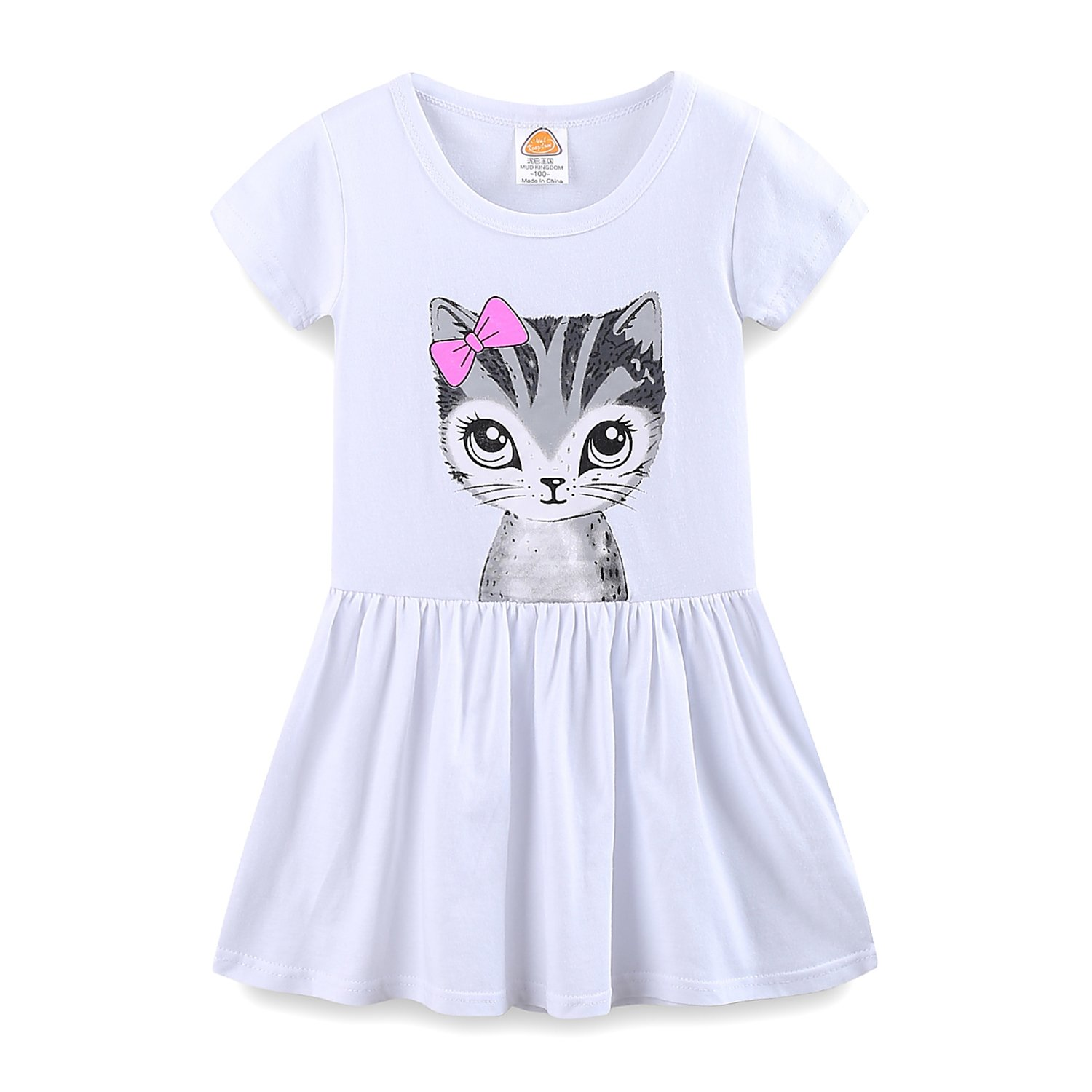 Mud Kingdom Toddler Girls Dresses Summer Clothes Cat Face 4T White