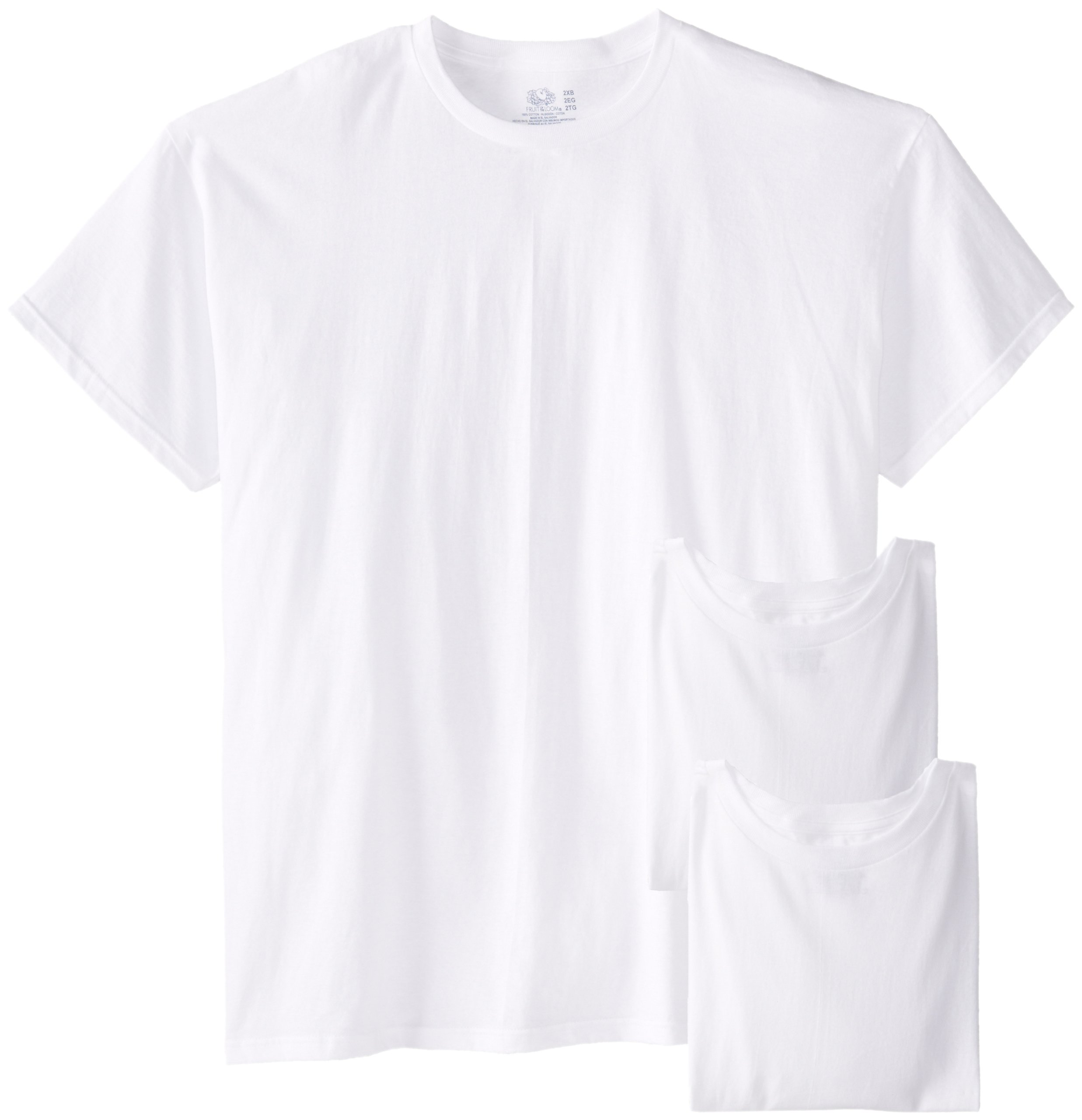Fruit of the Loom Men's 3-Pack Big Size Crew T-Shirt, White, 4XB