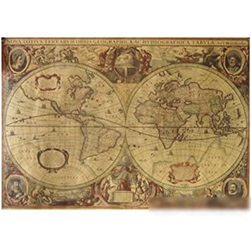 Amazon 71x50cm vintage globe old world map matte brown paper 71x50cm vintage globe old world map matte brown paper poster home wall decor gumiabroncs Image collections
