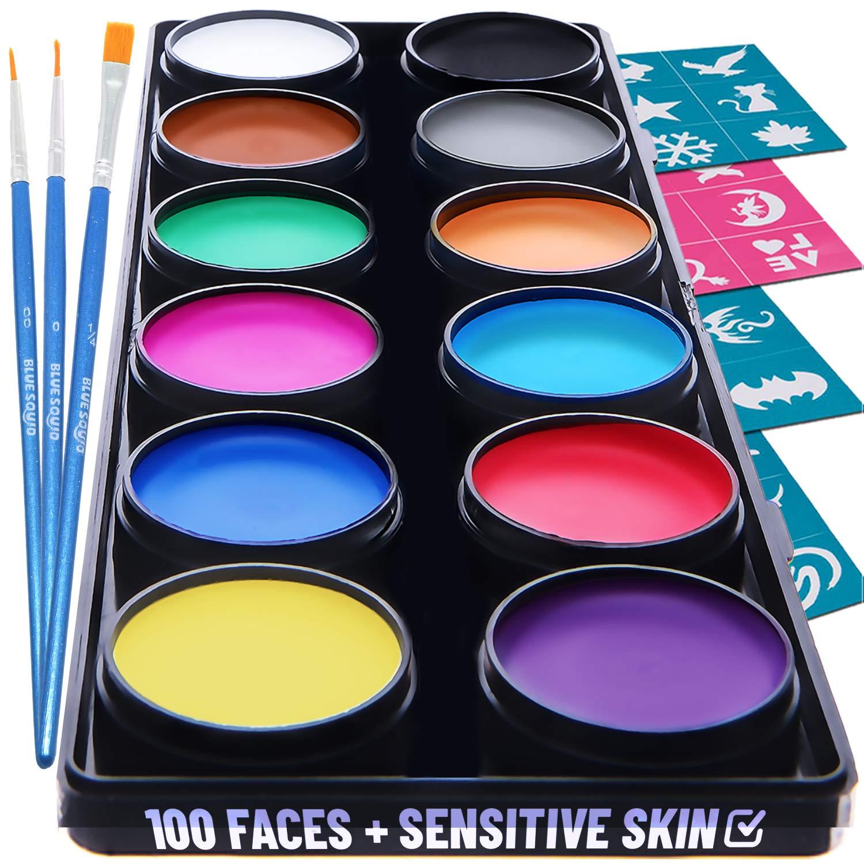 Professional Face Paint Kit 12x10g Classic Color Palette, by Blue Squid PRO