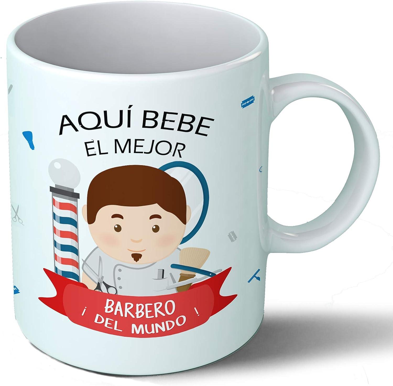 Planetacase Taza Desayuno Aquí Bebe el Mejor barbero del Mundo Regalo Original peluqueros Ceramica 330 mL: Amazon.es ...