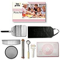 Pizza Making Kit (8 Pc Set) with Outdoor Supplies Metal Peel, Pan, Cutter Rocker, Adjustable Roller Pin, Dough Docker, Spoodle, Apron & Silicone Dough Mat – DIY Homemade Pizza Oven Accessories & Tools