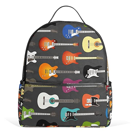 5fb2410df6 Image Unavailable. Image not available for. Color  LORVIES Color Acoustic  And Electric Guitars Background Lightweight Canvas Kids School Backpack ...