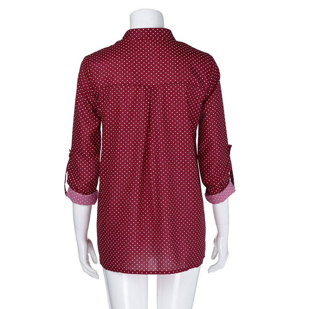 Blouse For Women-Clearance Sale, Farjing V-Neck Wave Point Printing Long Sleeves Plus Size Tops Loose Blouse(US16/4XL,Wine) by Farjing (Image #3)