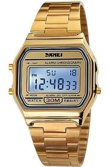 Gosasa Classic Mujeres de oro acero inoxidable reloj digital: Amazon.es: Relojes