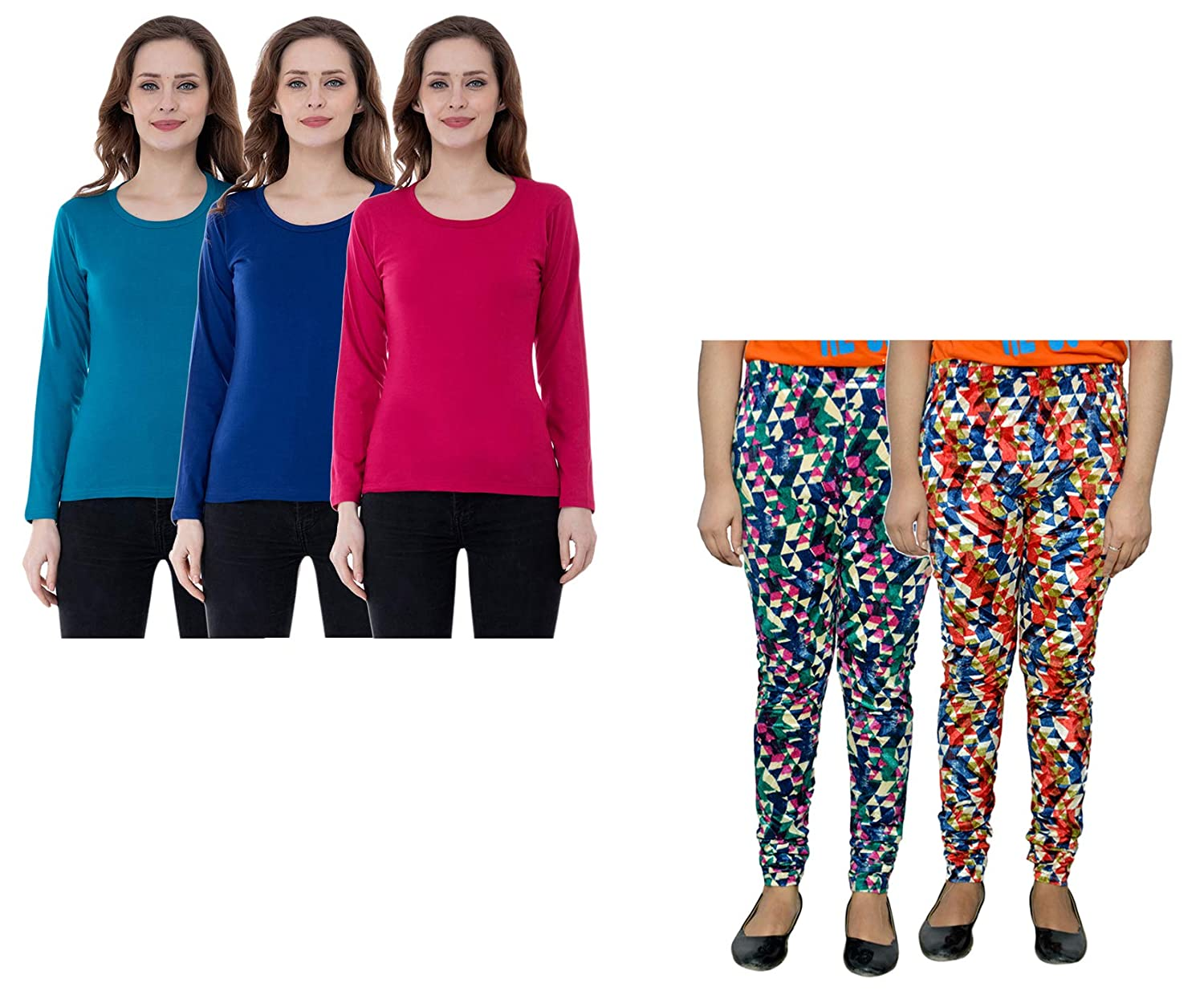 Indistar Cotton Super Soft Solid Multicolor Leggings for Girls Pack of 5