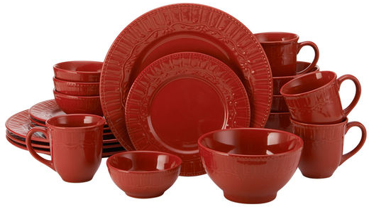 Pfaltzgraff | Amelia Red 20 Piece Dinnerware Set