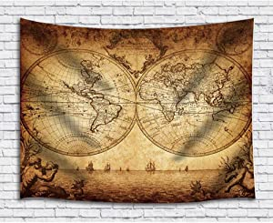JAWO Old World Map Tapestry, Vintage Nautical Map Retro Sea Route on Treasure Map Upgrade Tapestries Wall Hanging for Bedroom College Dorm, TV Backdrop Table Cloth Profession Home Decor 60X40 Inches