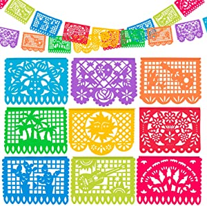 5 Packs Plastic Mexican Party Banners by WXJ13, 90 FT Mexican Fiesta Hanging Banners Flags for Party Decorations Supplies