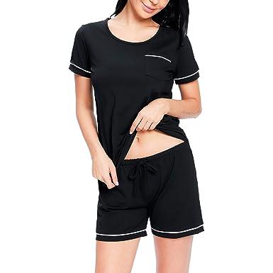 7a3cc1b6e nine bull Womens Pajama Set Cotton Short Sleeve Sleepwear 2-Piece PJ Sets  (Black