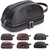 Semary Leather Toiletry Mens Bag Shaving Case Bags with Lots Pockets Plenty Space Large Compartments Durable Design Travel Po