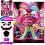 Trolls World Party Pin Game Pin The Eyes /& Mouth On The Face Happy Birthday Funny Outdoor Indoor Activity Games Cute Troll World Party Supplies Poster for Kids Girls Boys 24 Stickers