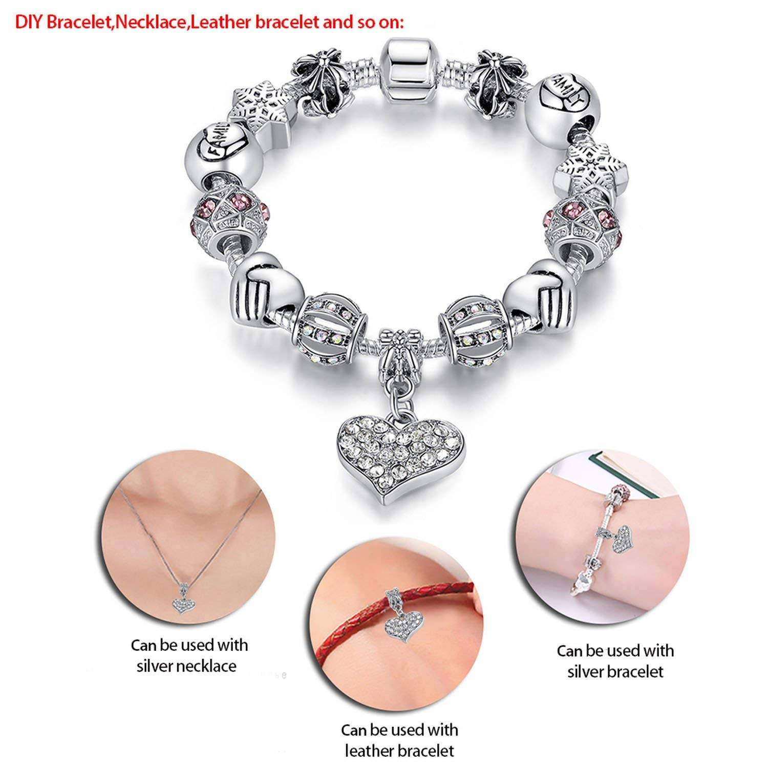 Women Bracelet 925 Unique Silver Crystal Charm Bracele Beads Bracelets /& Bangles Jewelry Gift,PS3797,18cm