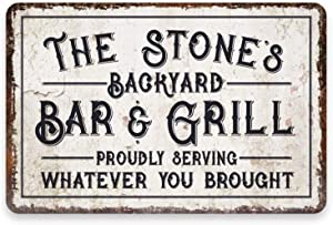aianhe Backyard Bar & Grill Signs Personalized Name Home Decor Wall Metal Sign