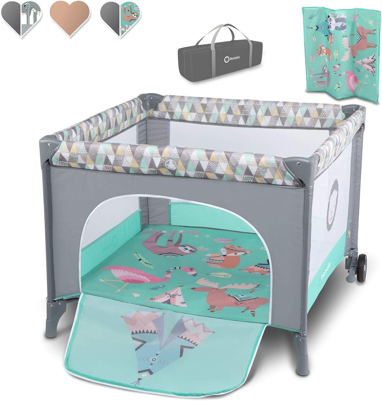 Lionelo Sofie - Parque infantil para bebé (desde el nacimiento hasta los 15 kg, con bolsa de transporte, mosquitera), color turquesa