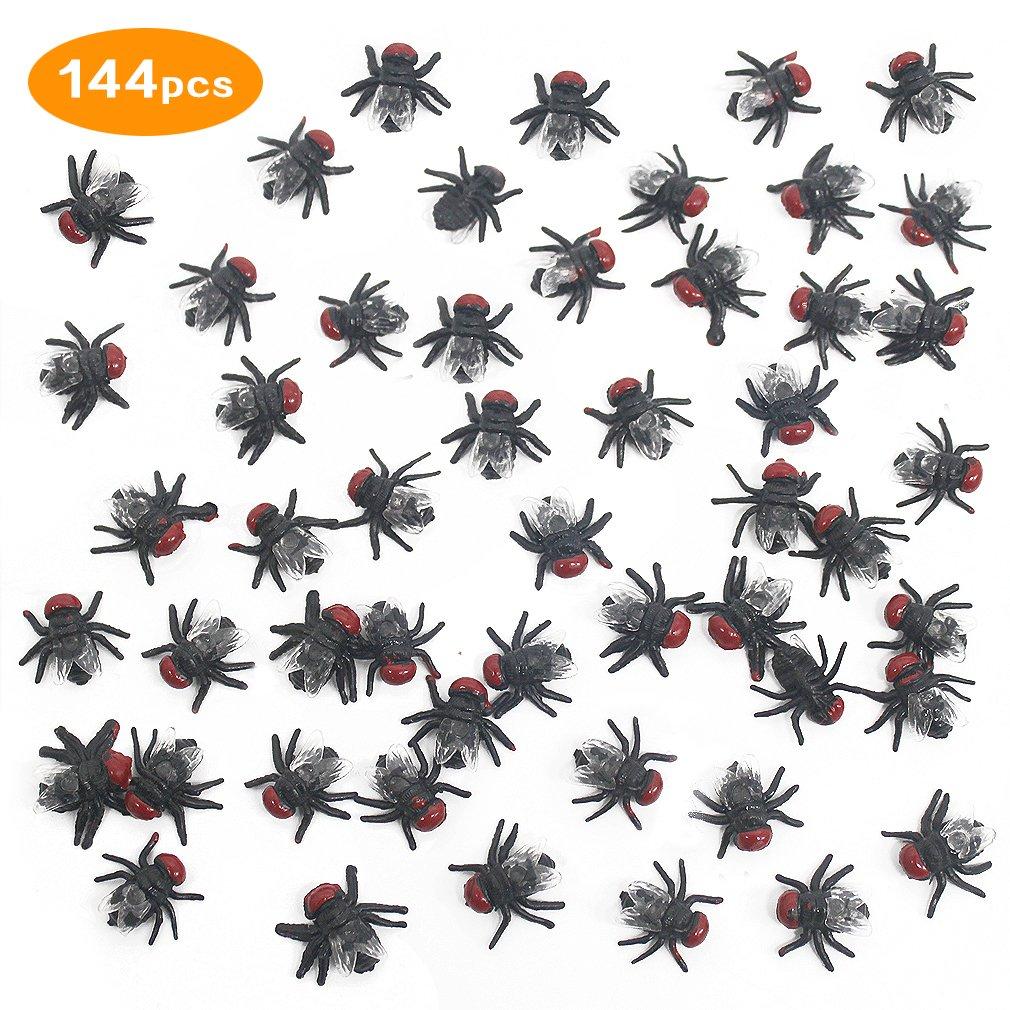 COOKY.D 144 Piè ces Noir Faux Plastique Mouches Jouets Insecte Mouche Blague Jouet pour Halloween Farce Party