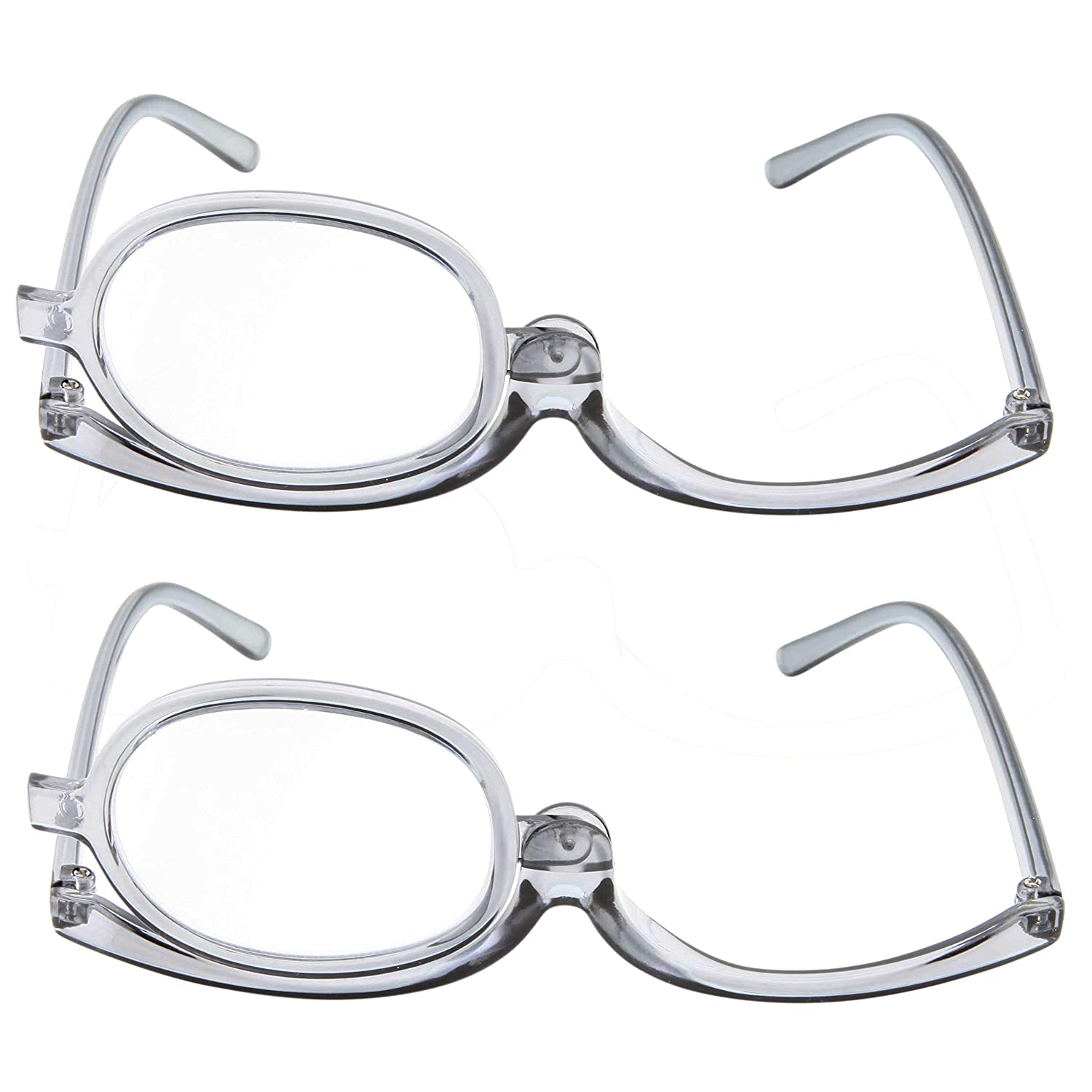 6b56328d94bf Amazon.com: 2 Pack Magnifying Makeup Glasses Eye Make up Womens Cosmetic  Reading Glasses Spectacles Flip Over Lens Folding (Gray, 2.25): Health &  Personal ...