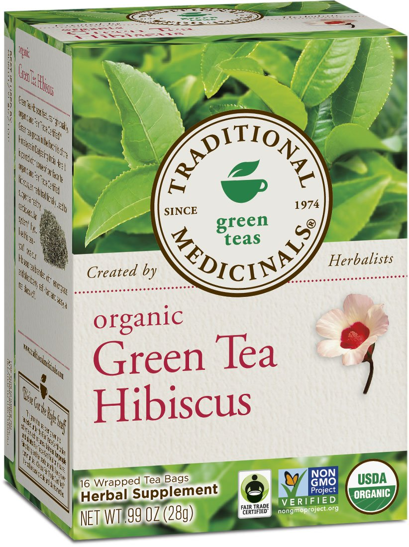Traditional Medicinals Organic Green Tea Hibiscus Tea, 16 Tea Bags (Pack of 6)