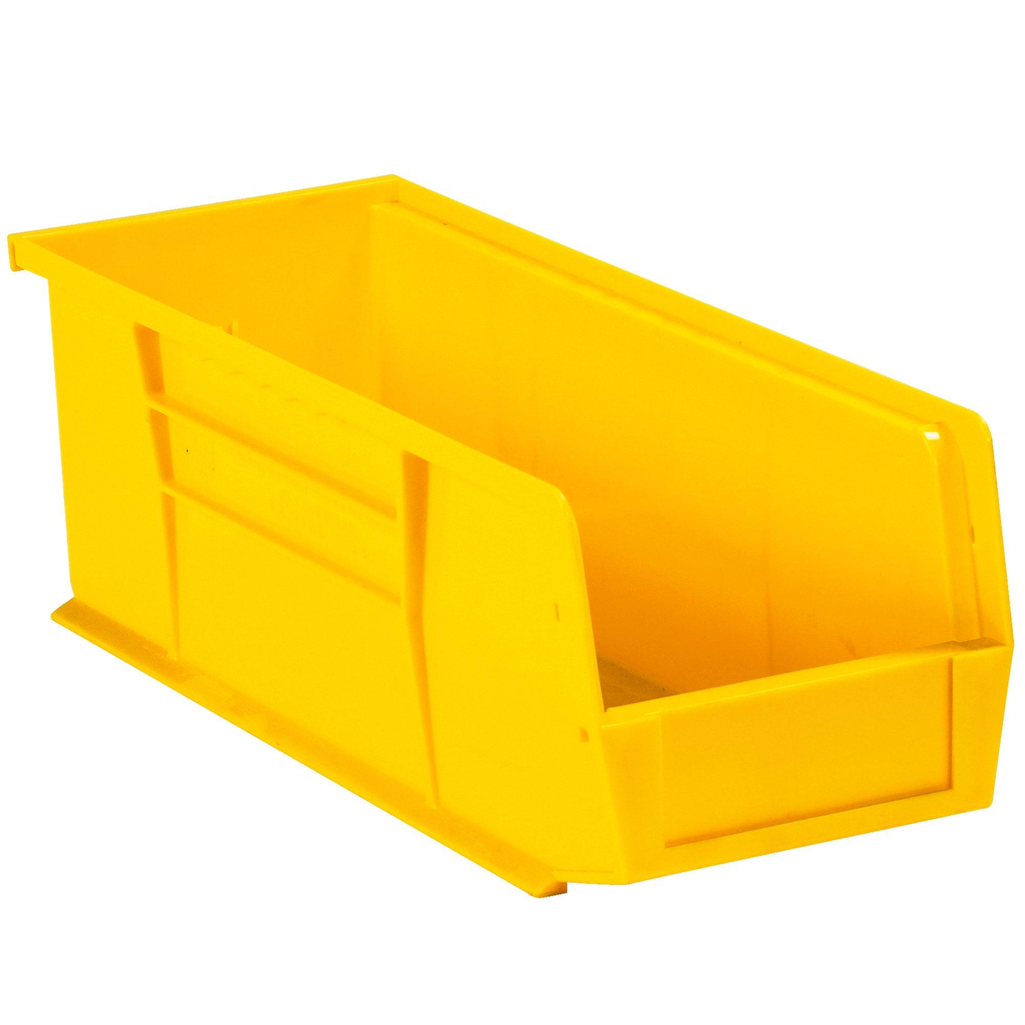 Aviditi BINP1555Y Plastic Stack and Hang Bin Boxes, 14 3/4'' x 5 1/2'' x 5'', Yellow (Pack of 12)