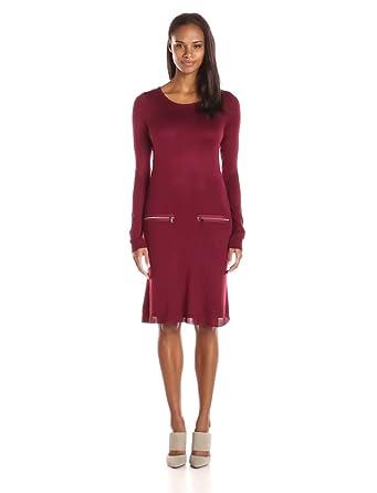 Marc New York by Andrew Marc Womens Long Sleeve Sweater Dress, Bordeaux, Medium