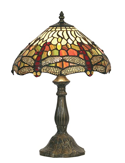 Oaks Lighting Dragonfly Tiffany Table Lamp, 12-inch: Amazon.co.uk ...