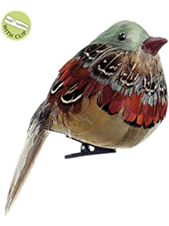 allstate 4 natures glow feathered natural toned song bird clip on christmas ornament