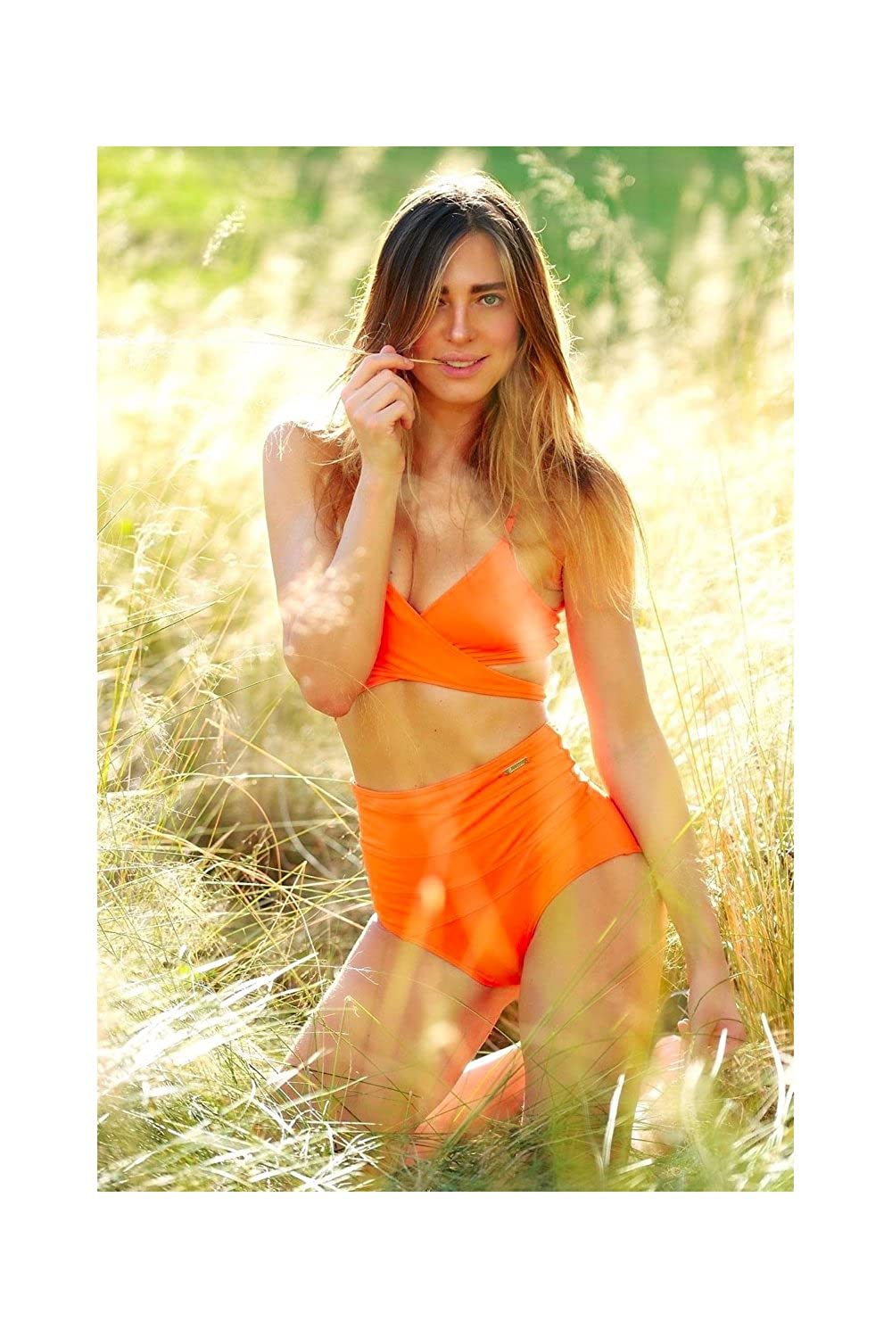Bikini-Hose High-Waist Slip Emmatika Solid Naranja Swinga Orange
