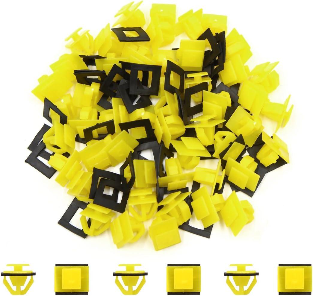 50 Pcs Yellow Plastic Car Hood Prop Rod Clips Rivets 14mm x 10mm x 14mm