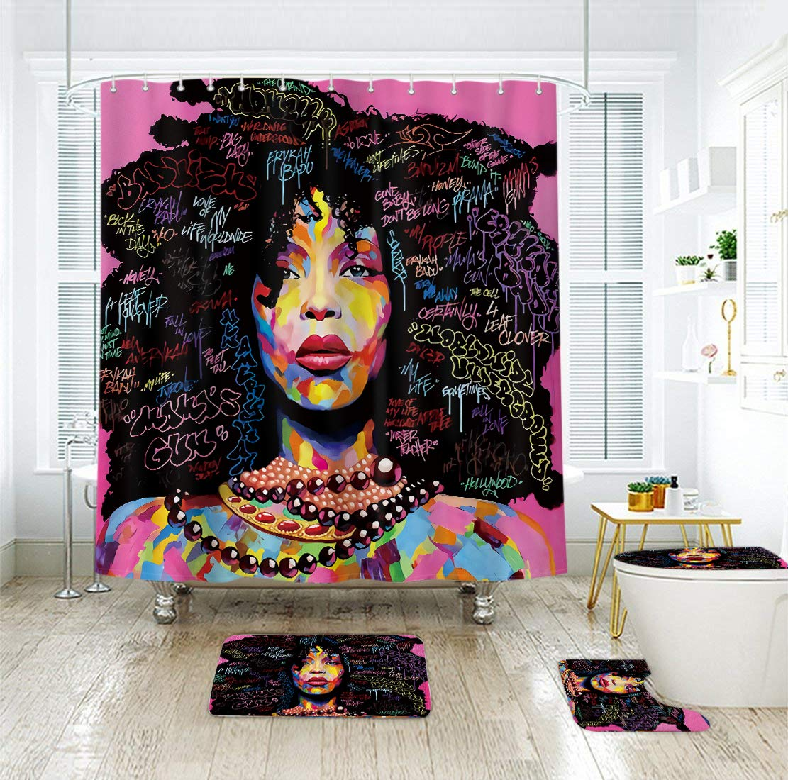 Riyidecor Afro African American Shower Curtain+3 Pieces Bathroom Set Rock Colorful Watercolor Black Hair Girl Lady Pink Trendsetter Polyester 72x72 Inch with Free Plastic Hooks 12-Pack
