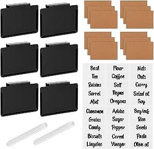Basket Labels Clip on,ivkey Bin Clip Labels for Baskets and Storage, Removable Black Metal Label Holder Clip for Home Organization/Kitchen/Storage/Office/Baskets/Bins,Includes 6 Black Clip/12 Label