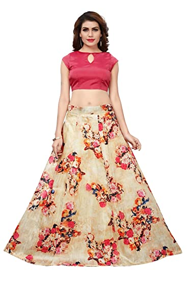 e21156ec2b JULEE Women's Banglori Satin Digital Printed Semi-Stitched Lehenga Choli  (L-102 Maskeen Lehenga-Jul9_Beige_Free Size): Amazon.in: Clothing &  Accessories