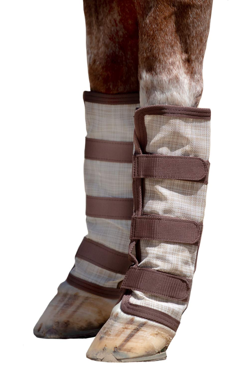 Kensington Natural Horse Fly Boots - Web Trimmed - Stay-Up Technology - Protection from Insect Bites and UV Rays - Sold in Pairs (2 Boots) - Large - Tan