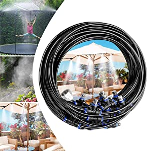 Misting Cooling System Water Irrigation Fan Misting Mister Kit (5/10/20M) Misting Line+Mist Nozzle+Adapter for Outdoor Patio Garden Greenhouse Lawn Umbrella Trampoline