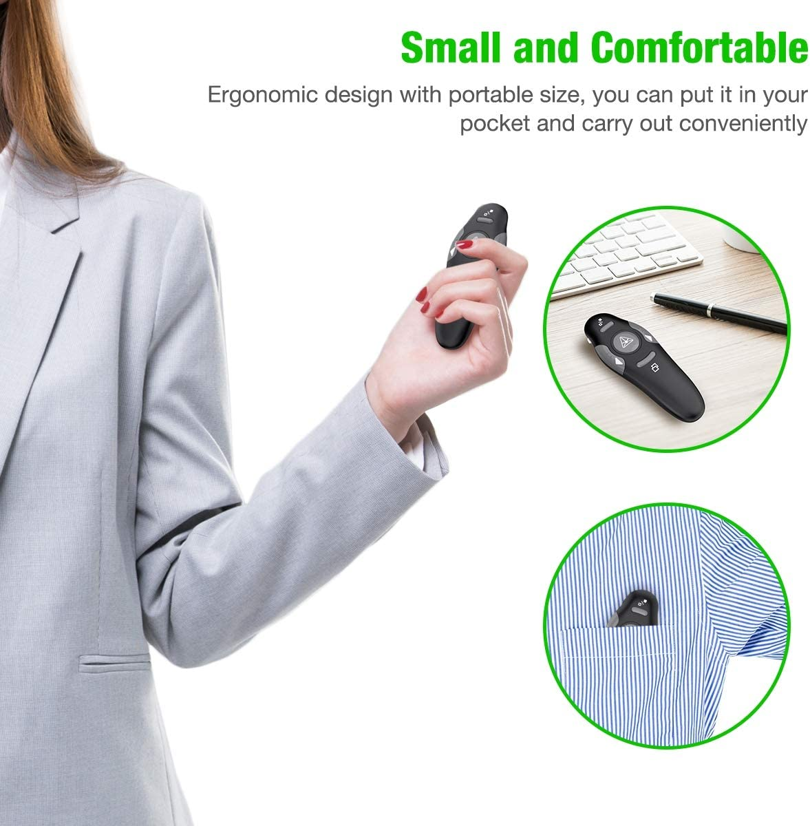 Mac Keynote Laptop Presenter Remote with USB Slide Clicker Remote for PPT Powerpoint Clicker BEBONCOOL Wireless Presentation Clicker with Green Light Computer