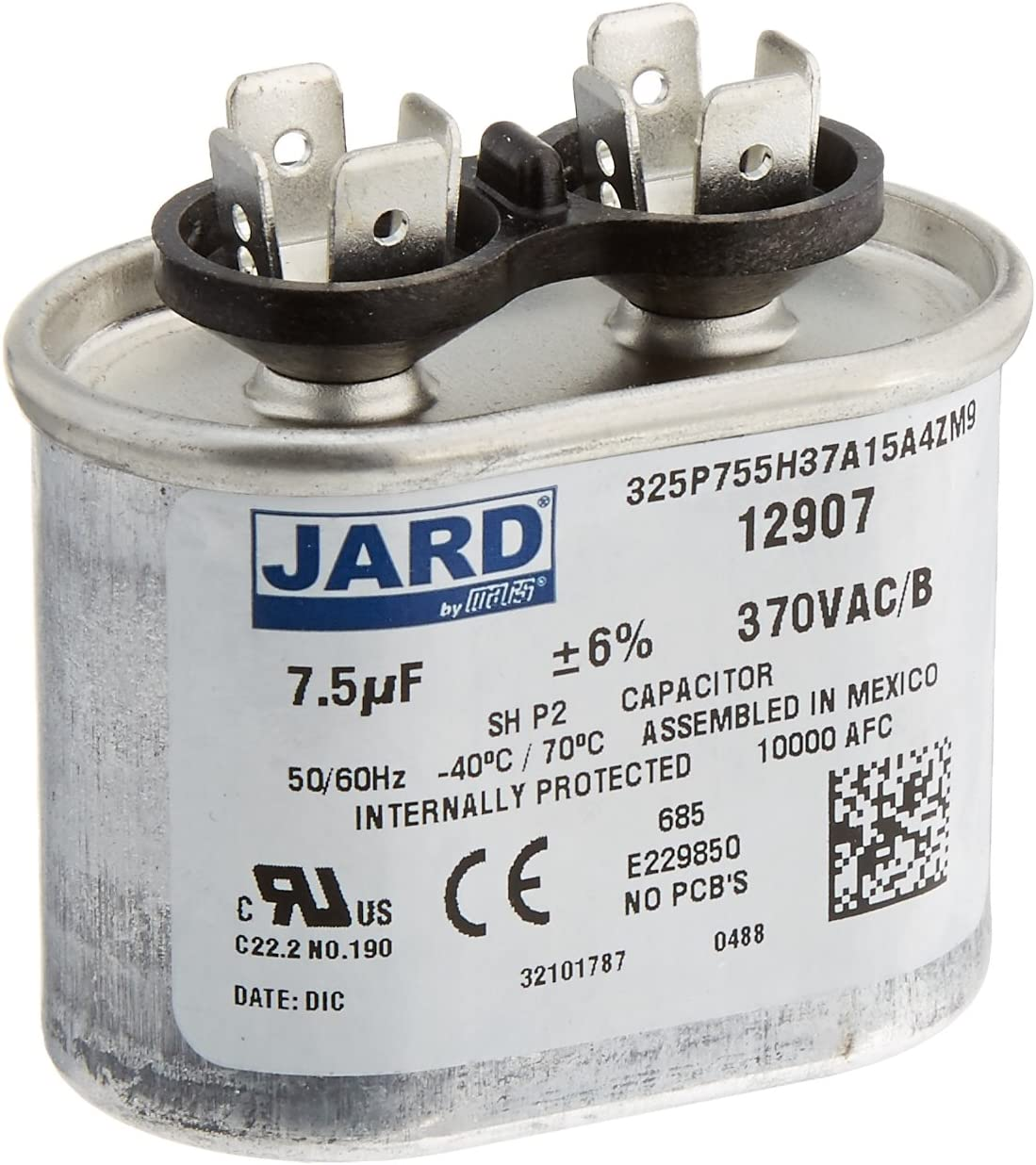 fits Mars2# 12907 ClimaTek Oval Capacitor 7.5 uf MFD 370//440 Volt VAC