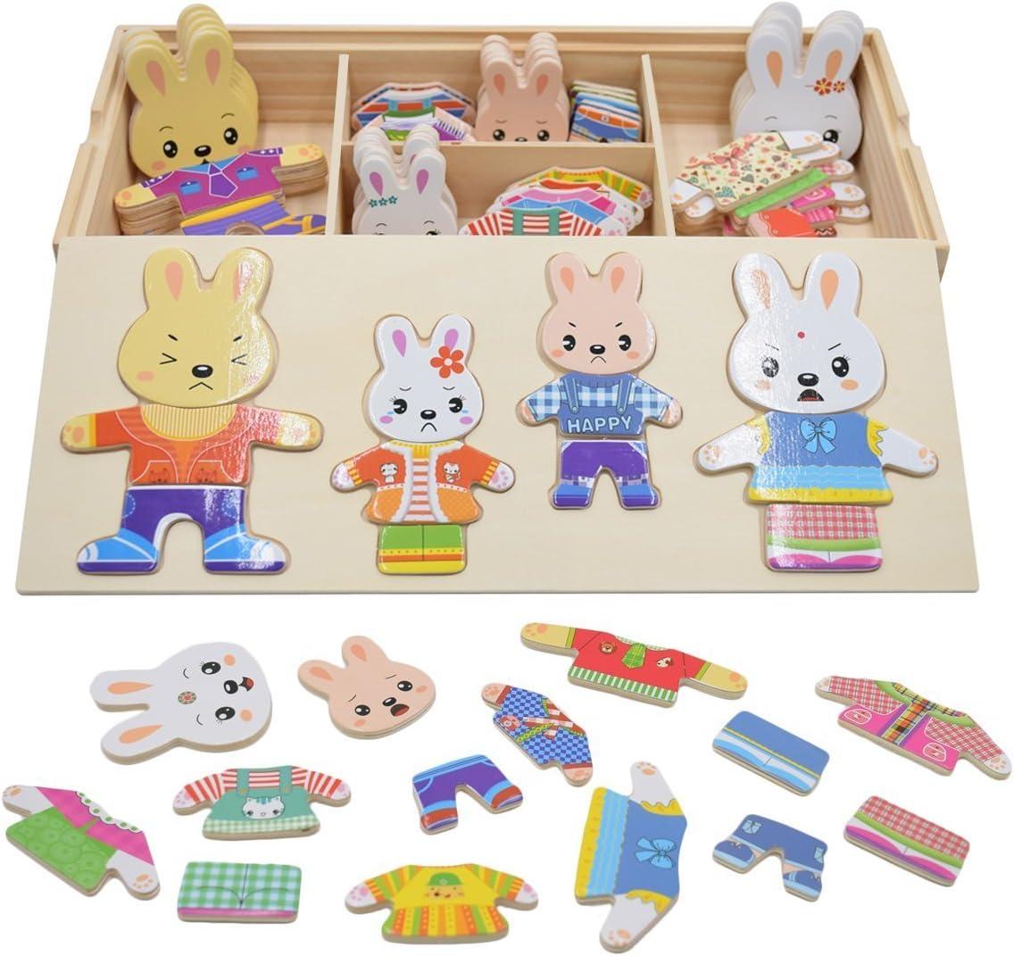 PAMRAY Rompecabezas de Vestir Juguetes Puzzles Osos Conejos Cambiar la Ropa DIY para Madera Juego para Niñas Niños Bebés de Dress up Toy de 3 Años y Más 72 Piezas Conejo