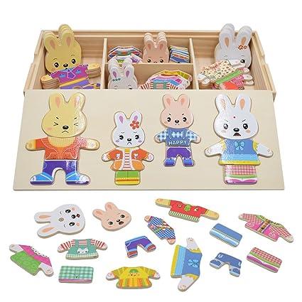 Pamray Rompecabezas De Vestir Juguetes Puzzles Osos Conejos Cambiar La Ropa Diy Para Madera Juego Para Niñas Niños Bebés De Dress Up Toy De 3 Años Y