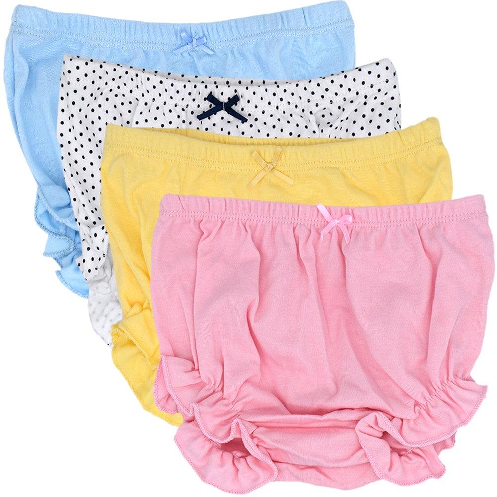 CeeDeek Baby Diaper Covers Combed Cotton Panties 4 Pack Cartoon Bloomers (2-3y, Girls Lacy A) by CeeDeek