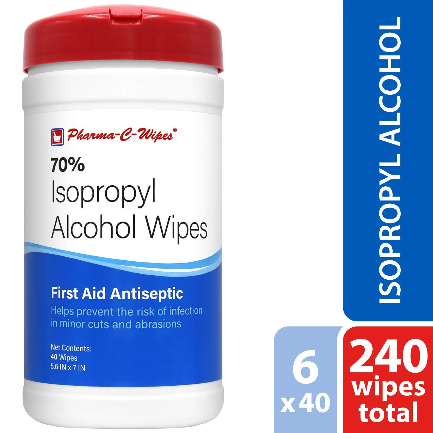 Pharma-C-Wipes 70% Isopropyl Alcohol Wipes (Case of 6 Canisters) by Pharma-C-Wipes
