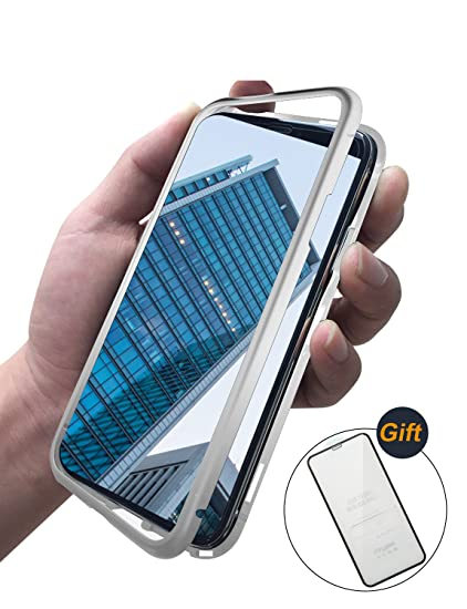 69e578e1809 iPhone X Magnetic Adsorption Clear Metal Case, 9H Tempered Glass Back Cover  + Magnetic Metal