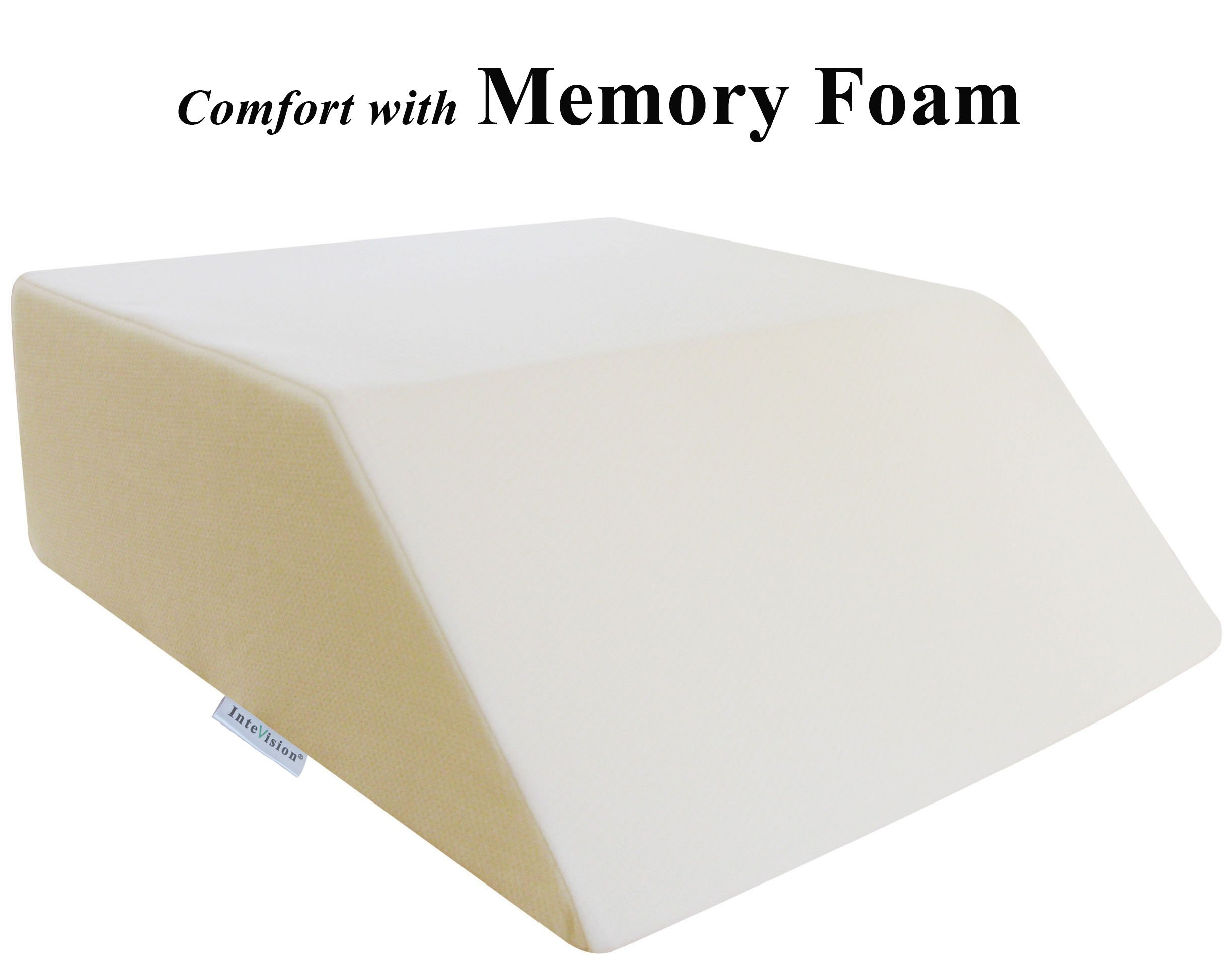 InteVision Ortho Bed Wedge with High Quality, Removable Cover (Size: 8'' x 21'' x 24''. Color: Ivory)