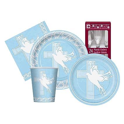 Blue Dove & Cross Religious Themed Supply Kit For Boys Serves 8